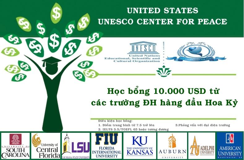 HỌC BỔNG UNESCO 10.000 USD TỪ CÁC TRƯỜNG ĐẠI HỌC HÀNG ĐẦU HOA KỲ